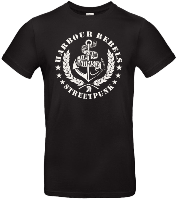 Harbour Rebels T-Shirt Antifascist-Logo schwarz