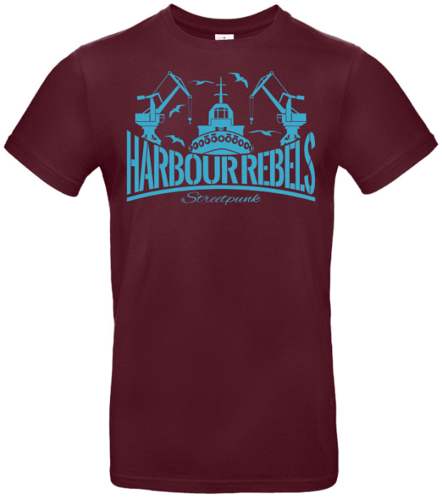 Harbour Rebels T-Shirt Hafen-Logo Burgundy